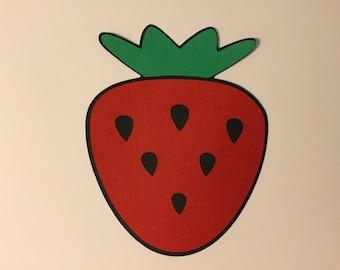 "5 Strawberry die cuts, 5 paper die cuts, 3.5"" Strawberrys"