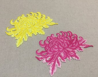 Embroidered Floral Appliques, Mums Patch