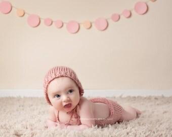 Knit Onesie with Bonnet, Newborn Baby, Prop Set
