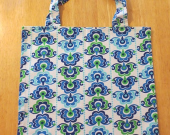 Cotton Grocery Tote, Blue and Green Leafy Floral