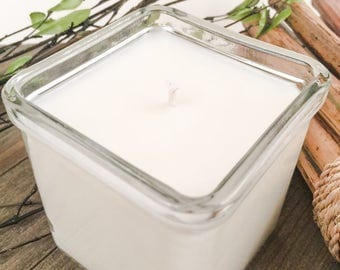 Himalayan Bamboo Candle / Scented Soy Candle / 8 oz / Recycled Glass / Square Jar