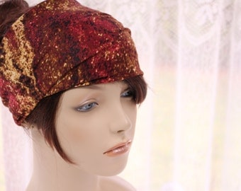 Rosey Red Chocolate Brown Butterscotch Tones Turban Head Wrap Womens Yoga Headband Turband Wide Headband  Womens Gift Ideas, Gifts for Her