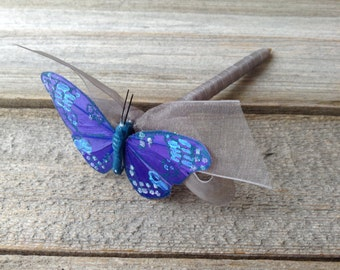 Blue Butterfly Wedding Guest Book PEN  Blue and Charcoal Gray Quinceanera