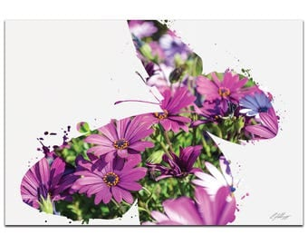Animal Silhouette 'Butterfly Flowers' by Adam Schwoeppe - Flower Photography Nature Photo Art on White Metal