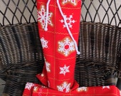 Wine Bottle Gift Bag, Fabric Drawstring Bag, Snowflake on Red Design, Reusable Gift Bag