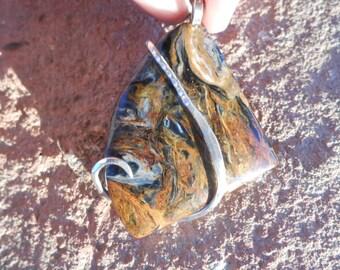 Cabochon-Petersite Silver Wrapped Pendant