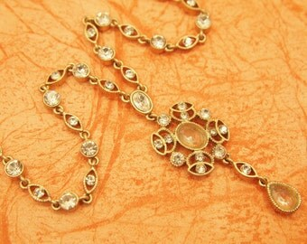 """Rhinestone Necklace - MONET - Choker Length - Clear Faceted Glass Centerpiece - Gold Plated Metal Frame - Clear Glass Rhinestones - 16.5"""""""
