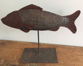 Rusted Metal Fish Sculpture
