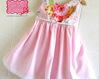 Pink Floral Dress - girls dress, girls summer dress, pink dress, party dress, tea party dress, pastel party, special occasion dress