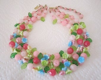 Vintage West Germany pastel flower garland necklace triple strand. flower necklace. floral necklace