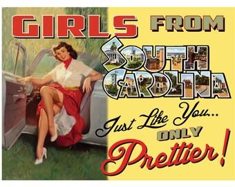 South Carolina Pin Up Girl Print Girls from South Carolina