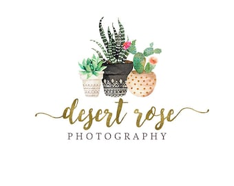 Cactus logo design, Premade succulent in pot logo with gold foil script font, photography logo and watermark 375