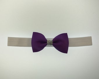 Purple with Silver glitter Bow Headband diff options for headband