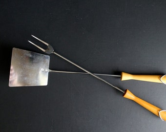 Vintage Grilling Utensils Mid Century BBQ Spatula and Fork Androck Chrome Plate WIth Wood Handles Made in USA