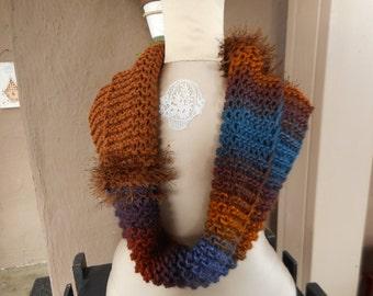 Hand Knit Cowl, Art Yarn Cowl,