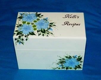 Wedding Recipe Advice Card Holder Custom Personalized Wood Recipe Box Hand Painted 4x6 Guest Box Decorative Organizer Bridal Shower Gift
