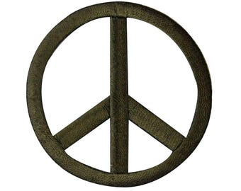 2.25 Inch Peace Sign Die-Cut Army Green Iron-On Patch Embroidered Craft Applique