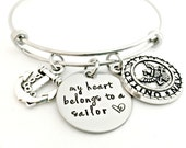 My Heart Belongs to a Sailor Expandable Bangle - Navy Bracelet - Deployment Military Wife Jewelry - Navy Wife Girlfriend Fiance Gift
