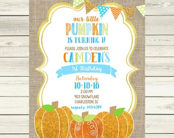 12  Pumpkin Birthday Party invitations -boys- glitter pumpkin our little pumpkin is turning one - any age
