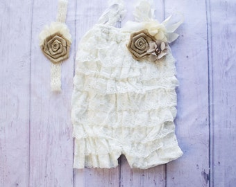 Ivory Lace Romper, Cake Smash Outfit, Petti Romper, Lace Romper, Rustic Ivory Romper, Country Baby Outfit, Birthday Outfit