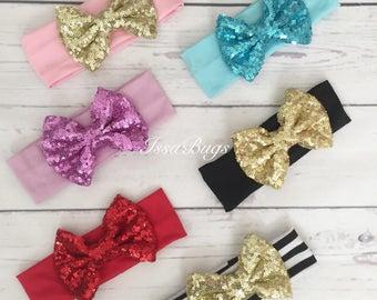 Sequin bow headband-sparkle bow headband-bow head wrap-big bow headband-cotton bow headband-baby bow headband-baby girl big bow