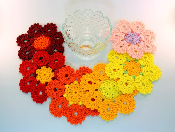 Crochet Coaster PATTERN Flower Coasters Crochet Home Decor