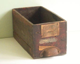 Antique Primitive Wood General Store Drawer with Old Pull
