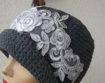 Gray Womens Hats, Crochet Mom Hat, Gray Crochet Woman Fedora, Beanie