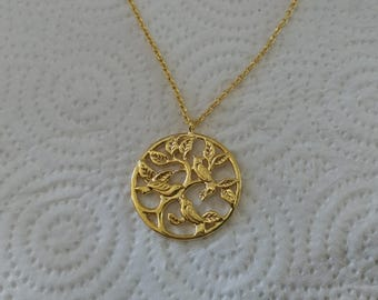 Spring Necklace, gold Bird Pendant, Nature Necklace, Rounded Pendant Necklace, Ornamented Pendant,Family and harmony Necklace, Women Jewelry