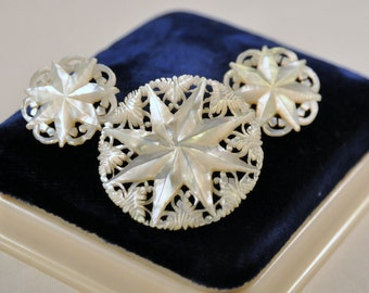 Vintage Mother of Pearl MOP Star Filigree Carved Earrings and Brooch Set  - Enchanting