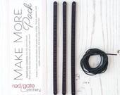 Expansion Pack for Embroidered Leather Bracelet Kit, Super Skinny, Make More Pack, Set of 3 Bracelet Blanks
