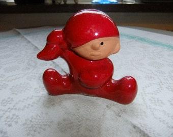 Vintage Swedish sweet little Tomte in red glaze - Nittsjö - Thomas Hellström design