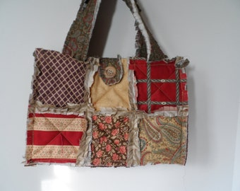 Shabby rag tote, small Mille Couleurs rag bag with slip pockets, button closure