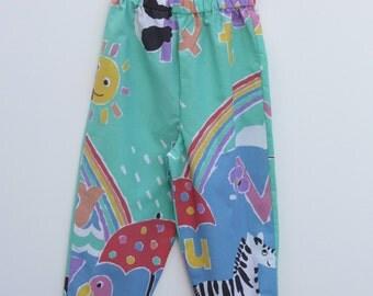 Upcycled Animal Alphabet Kids Trousers