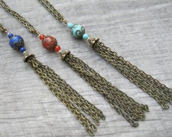 "CHOOSE Your Gemstone Tassel Necklace, LONG 4"" Tassel Pendant, CarnelianTassel, Magnesite Tassel, Lapis Lazuli Tassel Jewelry, Boho Bronze"