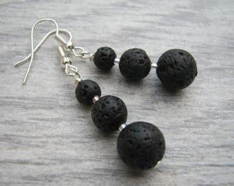 Lava Stone Earrings, Gemstone Dangle Earrings, Black Gemstone Earrings, Nature Jewelry, Sterling Silver Option, Diffuser Stone