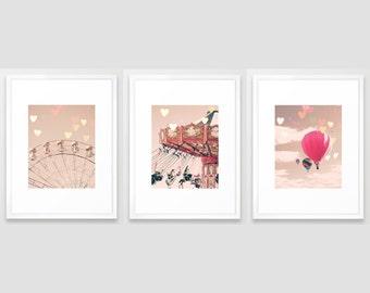 Girl nursery decor girl nursery wall art girl pink nursery decor, pink nursery decor, nursery wall decor, pastel nursery ar, print set,three