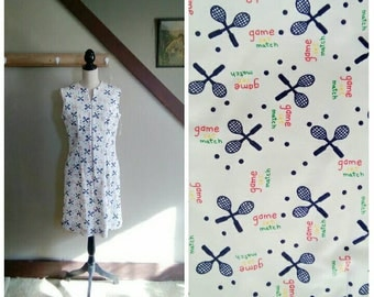 Game, Set, Match 1960s NOS White/Red/Green/Yellow/Navy Blue Tennis Racquet Novelty Print Dress