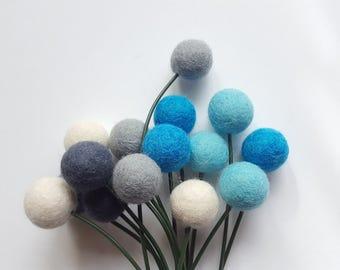 Billy ball flowers, craspedia flowers, blue flowers, alternative bouquet, pompom flowers, faux bouquet, bridal bouquet,