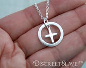 Sterling discreet day collar for submissive or slave female in the BDSM subculture. Medium Cross inside a circle.