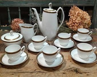 Elegant Vintage Demitasse Tea Service / Tea Set / White and Gold / Sugar and Creamer / Fine China / Porcelain / Chodziez / Made in Poland
