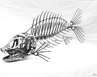 Fisherman, fish skeleton sculpture, art consultant, skeleton sculpture, skeleton art gift, morbid art, outdoorsman, metal skeleton art