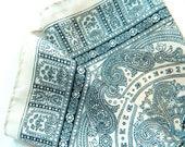Ivory White and Black Paisley Vintage Scarf / Preppy Vintage Scarf / Boho Ornate Square Scarf
