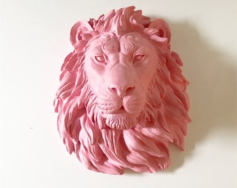 LIGHT PINK Large Faux Taxidermy Lion Head wall mount wall hanging / faux animal head / faux taxidermie / fake lion head / mounted lion head