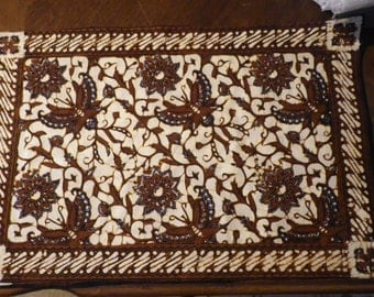 Set of 5 Batik Butterfly Print Cotton Placemats Brown and Cream Print 19 x 13  Tropical Five Floral Table Linens Place Setting