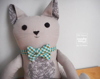 Add-On - Bow Tie & Neck Tie for Cat Dolls - Sewing pattern with tutorial