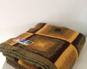 Retro blanket vintage blanket 1970s acrylic blanket from Holland super retro brown blanket