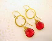 Ruby Red Earrings Genuine Gemstone