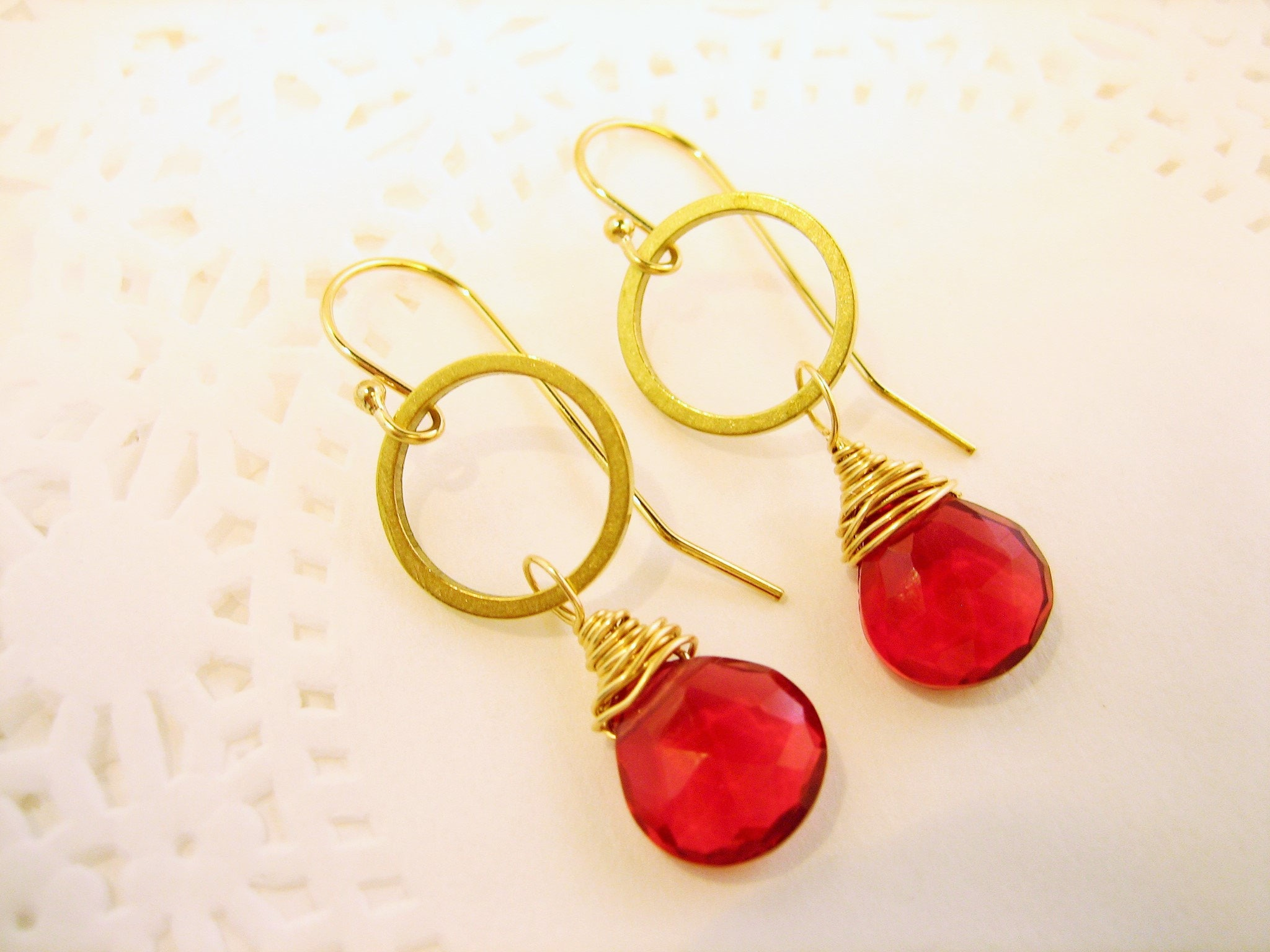 Hammered gold and red quartz drop earrings, red gemstone earrings, misty metal, gift for her, bridesmaid earrings