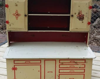 Vintage Wolverine Tin Litho Kitchen Cupboard with Art Deco Details - Upper Cabinet Doors Open - Play, Collection, Display, Photo Prop
